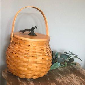 Longaberger pumpkin patch basket w maple leaf lid